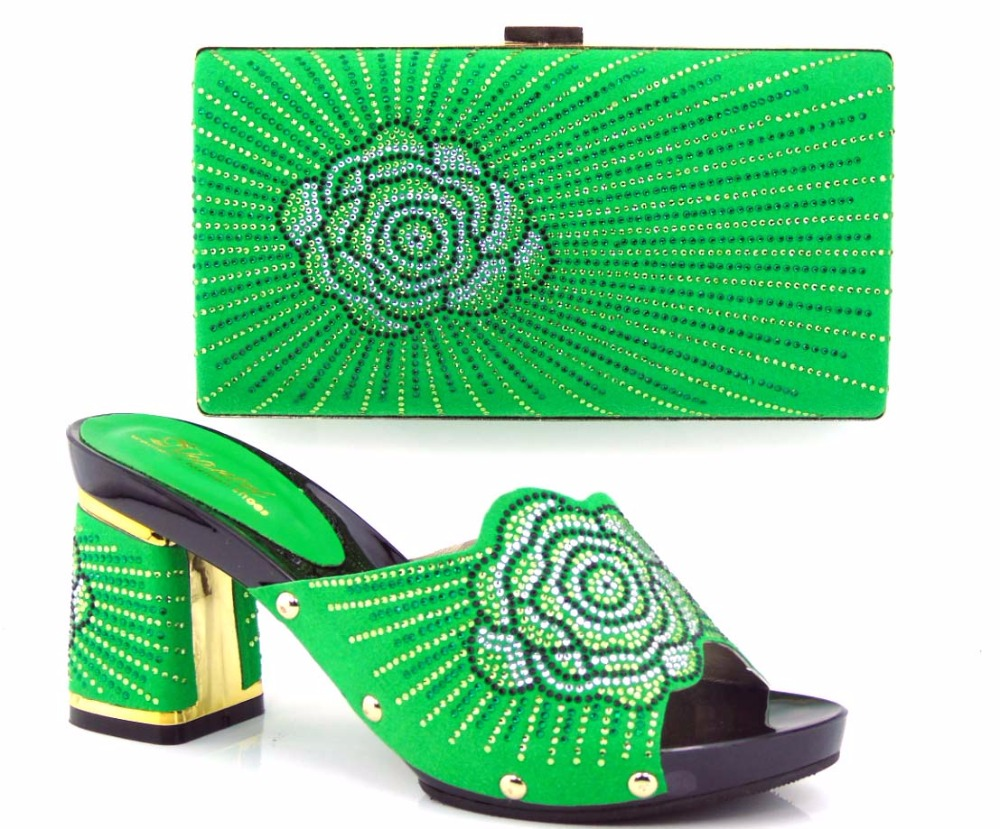 ФОТО NEW ARRIVAL!!!Free Shipping High quality Italian shoes with matching bags with green color size 37-43