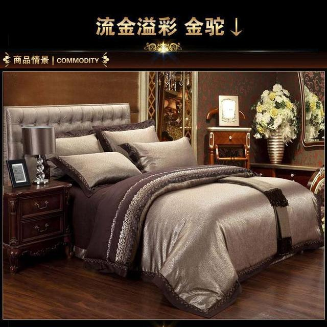 Luxury Jacquard Satin Bedding Sets King Queen Size Sheets Duvet Cover  Bedspread Bed In A Bag