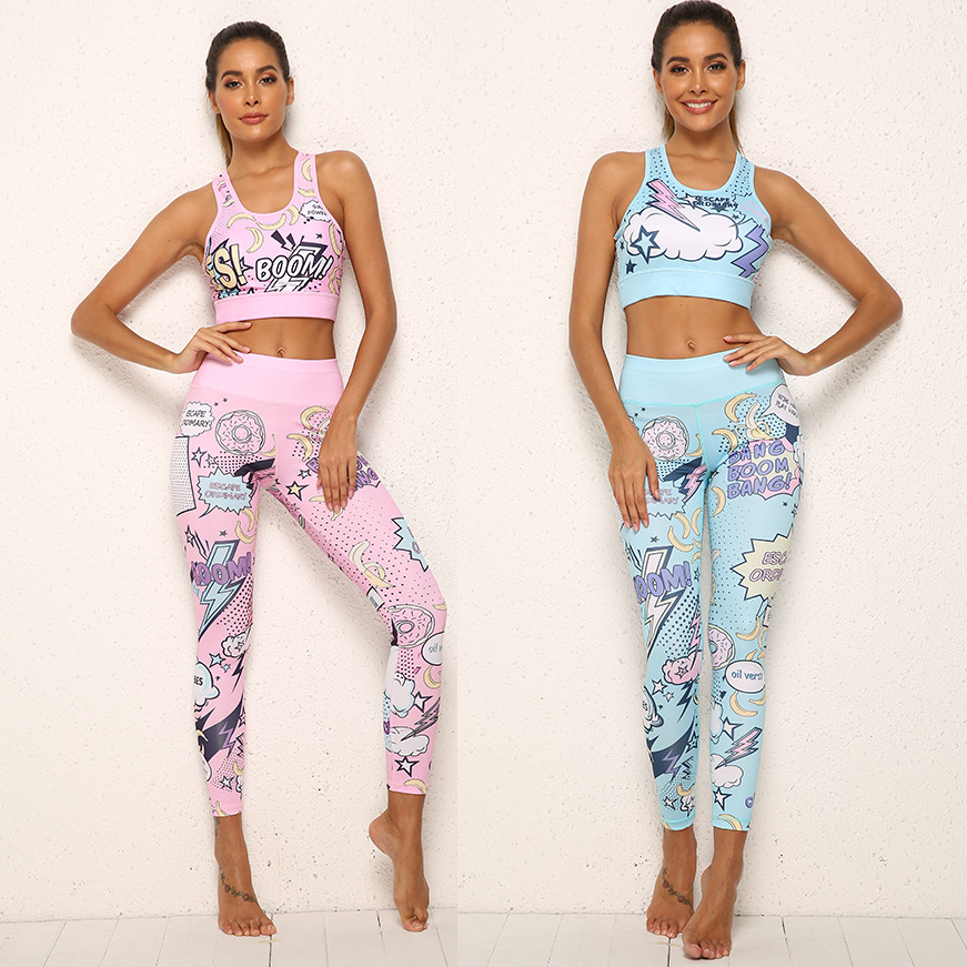 2 Piece Women Tracksuit Cartoon Yoga Set Running Fitness Bra+Leggings Sports Suit With Pad Gym Sportswear Workout Clothes S-XL