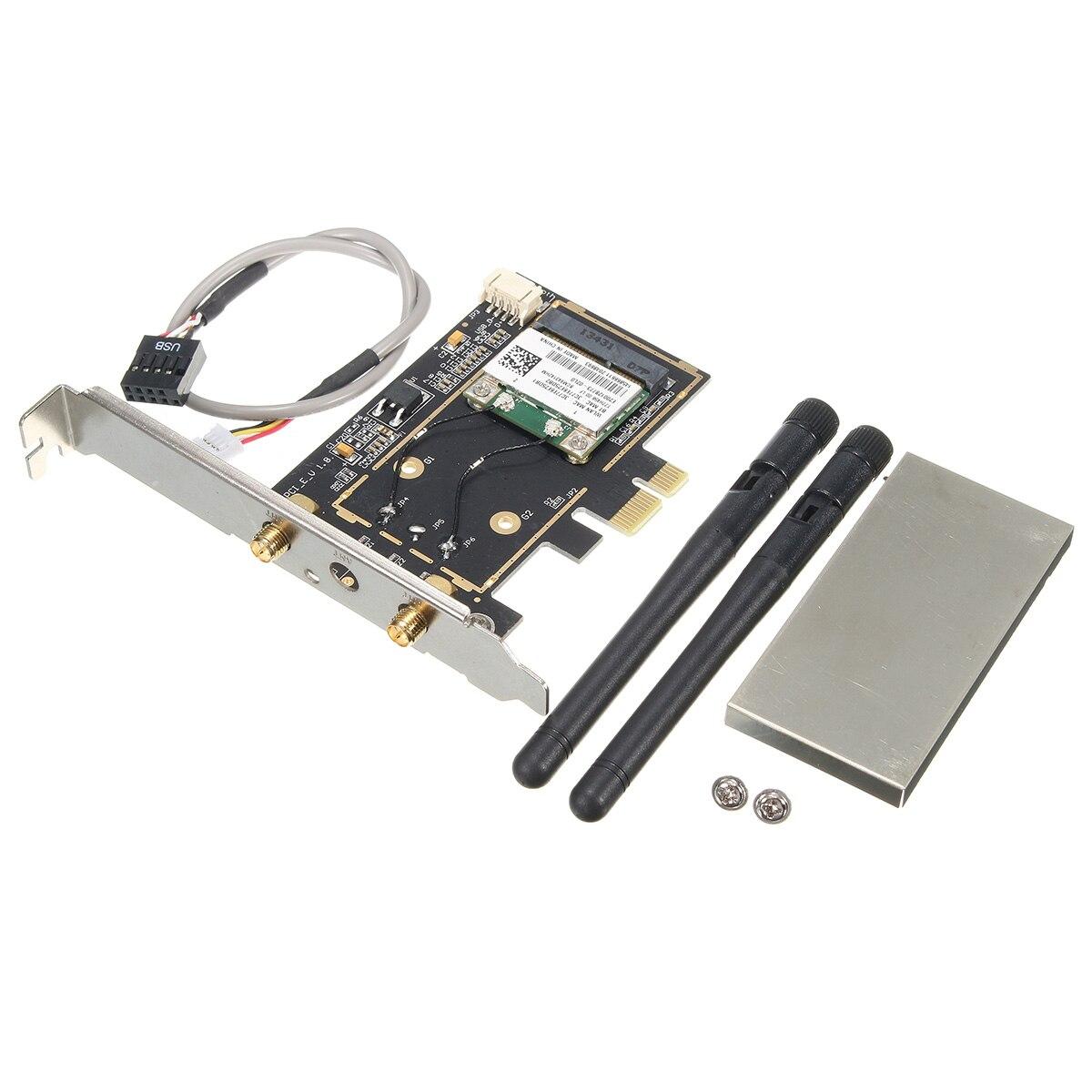 Фирменная Новинка 300 Мбит/с Беспроводной Wi-Fi pci-e карты для настольных ПК с Телевизионные антенны Беспроводной Wi-Fi <font><b>Bluetooth</b></font> 4.0 для рабочего ноутбу&#8230;