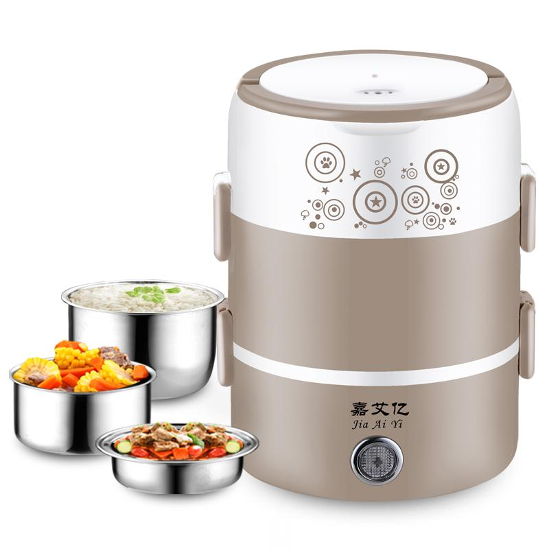 Мини Портативный Электрический Коробки для обедов 3 слоя может быть включен в тепло Коробки для обедов горячий рис артефакты рисом изоляция риса