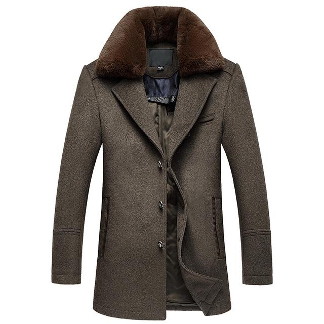 Gola De Pele Destacável único Breasted Longo Abrigo Hombre Qualidade Mens Inverno Casacos De Lã Grossa