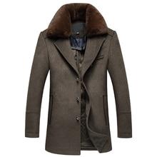 Einreiher Lange Abnehmbare Pelzkragen Abrigo Hombre Thick Qualität Mens Wool Wintermäntel
