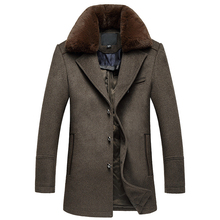 Single Breasted Long Detachable Fur Collar Abrigo Hombre Thick Quality Mens Wool Winter Coats