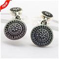 Compatible With European Style Jewelry 100% 925 Sterling Silver Stud Earrings Radiant Elegance, Clear CZ Original DIY Charms