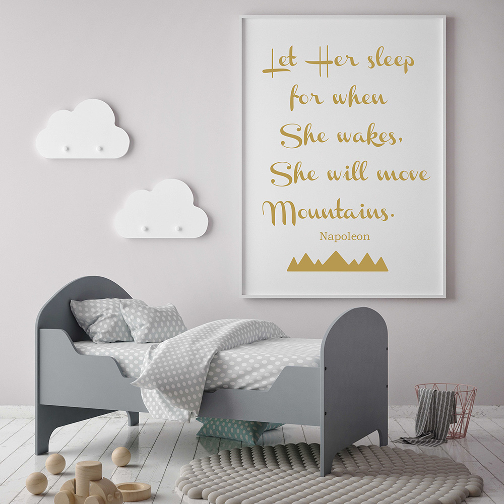 wall sticker quotes girls promotion shop for promotional wall let her sleep for when she wakes napoleon quotes wall sticker baby girl nursery room wall decal removable nursery sticker 669q