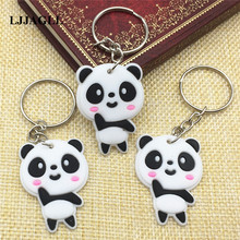 10pcs/lot Lovely Panda Cartoon Key Chain Strap Trinket Ring Kids Toy PVC Pendant Anime Figure Animal Charm Holder ACT012