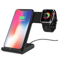 Qi wireless charger For iPhone Xs Max Xiaomi Samsung 2 in 1 Fast Wireless Charger Charging Stand Dock For Apple Watch iWatch