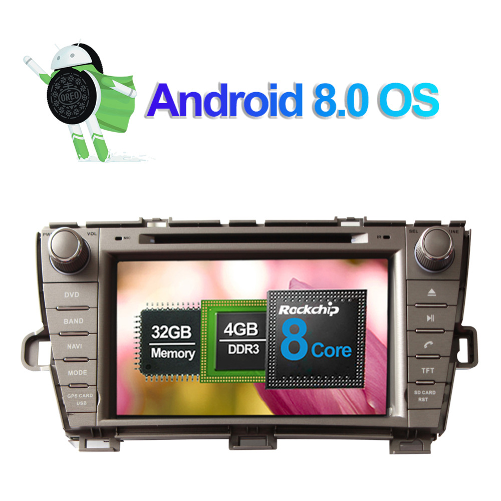 Excellent Android 8.0 Octa Core 4GB RAM Car Radio Stereo GPS Navigation For Toyota Prius 2009- Left Hand Driving DVD Multimedia Player 2