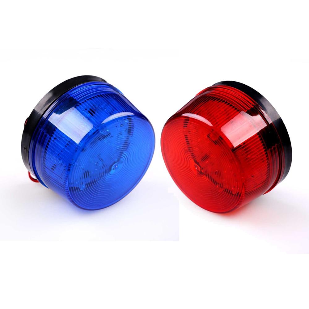 12V Säkerhetslarm Strobe Signal Varning Varning Siren LED-lampa Blinkande ljus 7.2cmX 4cm Sensorer Larm Blå Röd Blinkande ljus