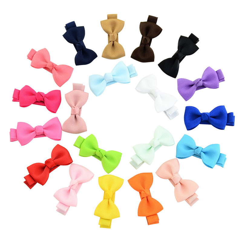 MIXIU 20pcs/set Baby Girl Solid Bow Hair Pin With Fully Wrapped Bowknot Hair Clip Safety Alligator Clip Kids Hair Accessories