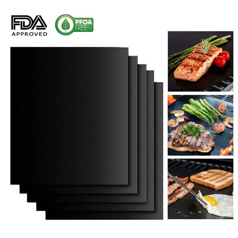 5PCS BBQ Grill Mats Reusable Baking Cooking Sheet Non-Stick Teflon Barbecue Pad