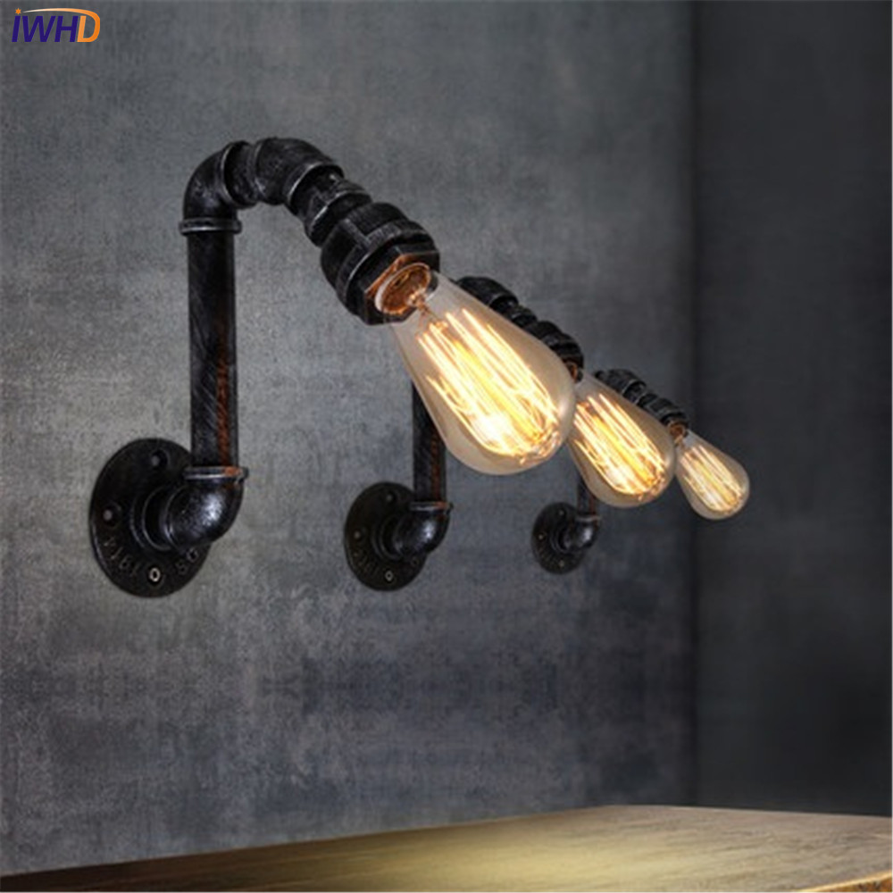 IWHD Loft Style Iron Water Pipe Lamp Edison Wall Sconce Antique Vintage Wall Light Fixtures For Home Industrial Lighting