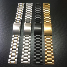 Universal watch with five beads of steel stainless solid folding buckle 12 14 16 17 18 19 20 21 22 24 mm
