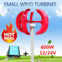 600W 12V/24V Wind Power Generator Vertical Wind T urbine Lantern 5 Blades Motor with controller for home streelight Hybrid use