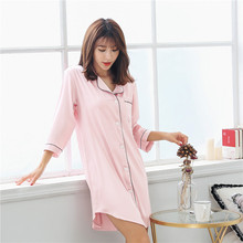 Spring and summer nightgown female nightdress thin section ice silk sexy pajama ladies loose models Korean version