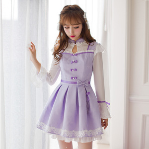 Image 1 - Princess sweet lolita purple dress Candy rain Chinese style Stand collar Bow decoration Pleated  A Chinese design C16CD6135