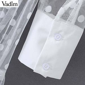 Image 5 - Vadim mujeres elegante polka dot patchwork transparente vestido de camisa de manga larga femenina chic sexy vestidos de malla QB670