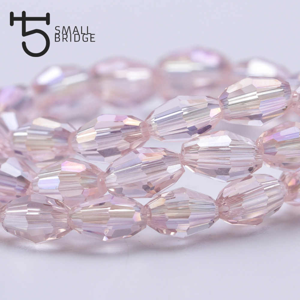4*6mm Czech Pink Glass Oval Rice Beads for Jewelry Making Women Diy Decorative Loose Faeted Crystal Beads Wholesale Y105