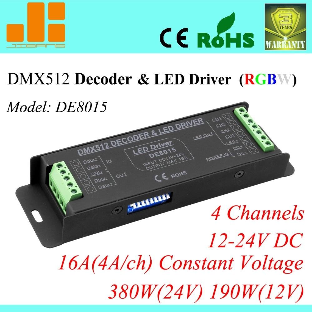 Free Shipping Hot Sale RGBW DMX Decoder 4CH DMX512 LED Driver RGBW Controller  DE 8015 free shipping dmx decoder dmx512 pwm led driver series rgb controller de 8019