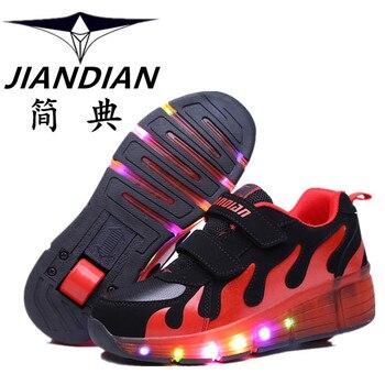 Heelys 2016 Hot New Child LED Junior Girls/Boys Children Roller Skate Shoes Kids Sneakers with Single Wheels Multicolor ella zeedog