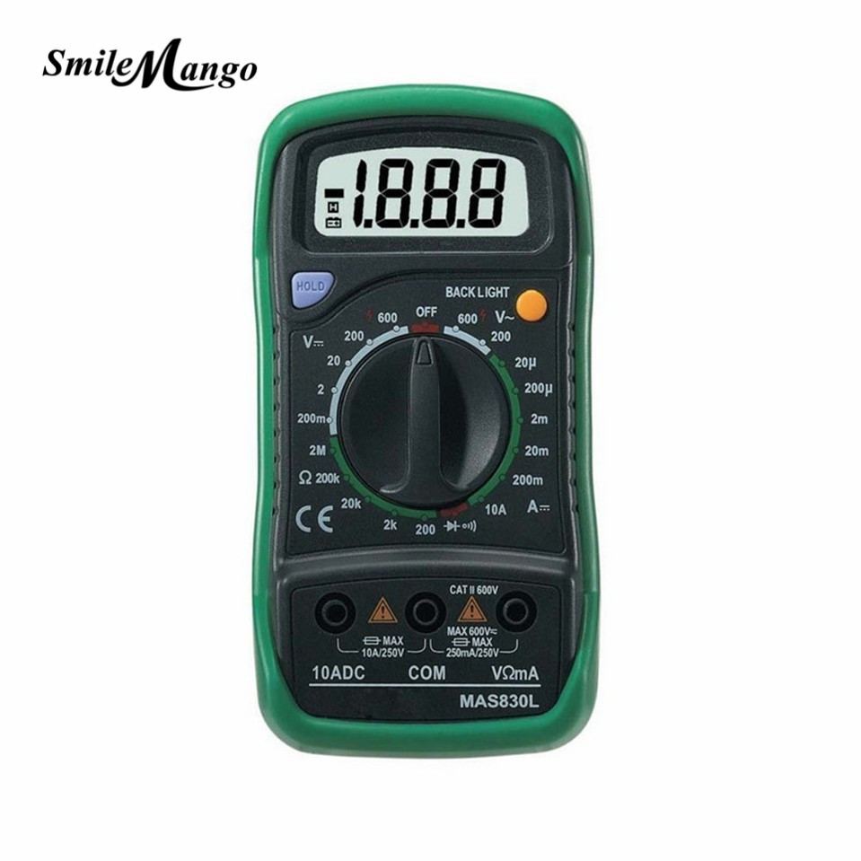 HOT MASTECH MAS830L Mini Handheld LCD Display Digital Multimeter DC Current Tester Backlight Data Hold Continuity Diode hFE Test