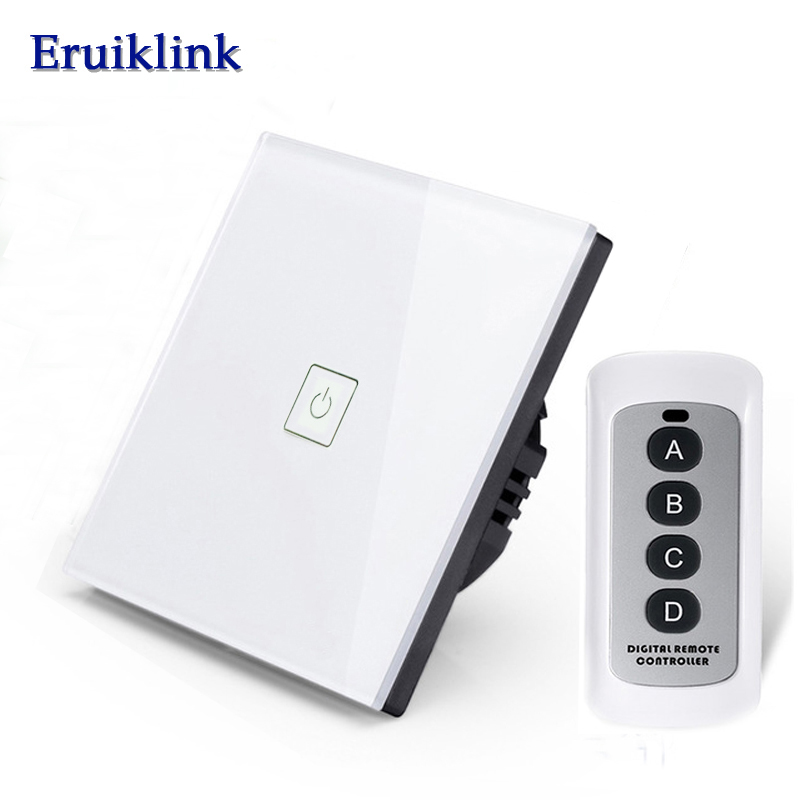Eruiklink EU/UK Standard 1 Gang 1 Way Wireless Remote Control Switch, Crystal Glass Panel Touch Wall Light Switch for Smart Home ботильоны milana milana mi840awveu57
