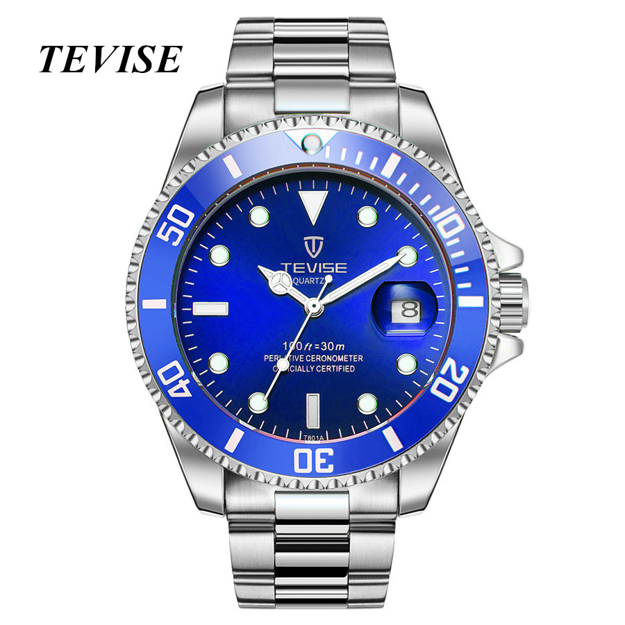 Watches Men Luxury Brand TEVISE Fashion Waterproof Quartz Watch Sport Stianless Steel Wristwatch Male Clock Relogio Masculino men s watches curren fashion business quartz watch men sport full steel waterproof wristwatch male clock relogio masculino
