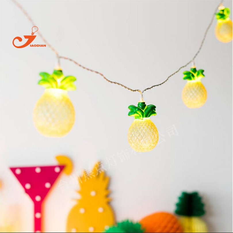 Hot Summer Fruit Pineapple 10 LED String Lights Colorful Warm Amber Bulb Night Light Fairy ...