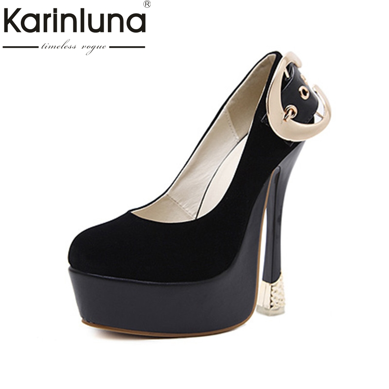 KarinLuna 2018 Spring Autumn New Brand Sexy Thick Platform Pumps Buckle Super High Heels Shoes Woman Party Wedding Women Shoe siketu 2017 free shipping spring and autumn high heels shoes fashion women shoes wedding shoes thick sandalsl pumps g042