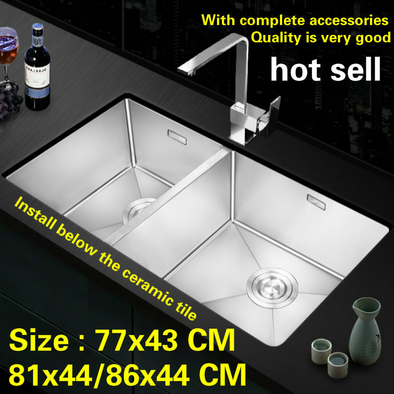 Free Shipping Hot Sell Food-grade 304 Stainless Steel Big Kitchen Manual Sink Double Groove Wash The Dishes 77x43/81x44/86x44 CM