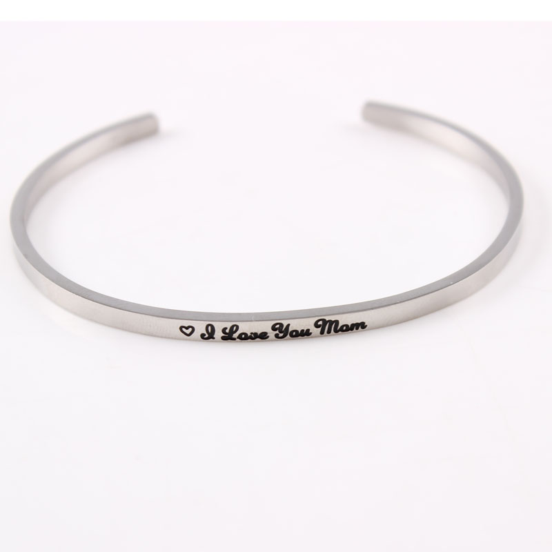 2017 Hot Selling Stainless Steel Mantra Bracelets Engraved Dont look back Bracelts and Bangles for Women