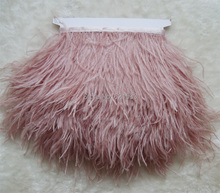 CORAL/Skin Pink Ostrich Fringe,10yards/lot- Fringe Trim Feather,5-6inches height,ostrich feather trimming