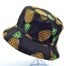 Новая мода без рукавов с узором из ананасов ведро Шапки Для женщин Для мужчин, очаровательные Разноцветные Летние Повседневное Рыбацкая шляпа летняя рыболовное ведро шляпы Панамы шапки