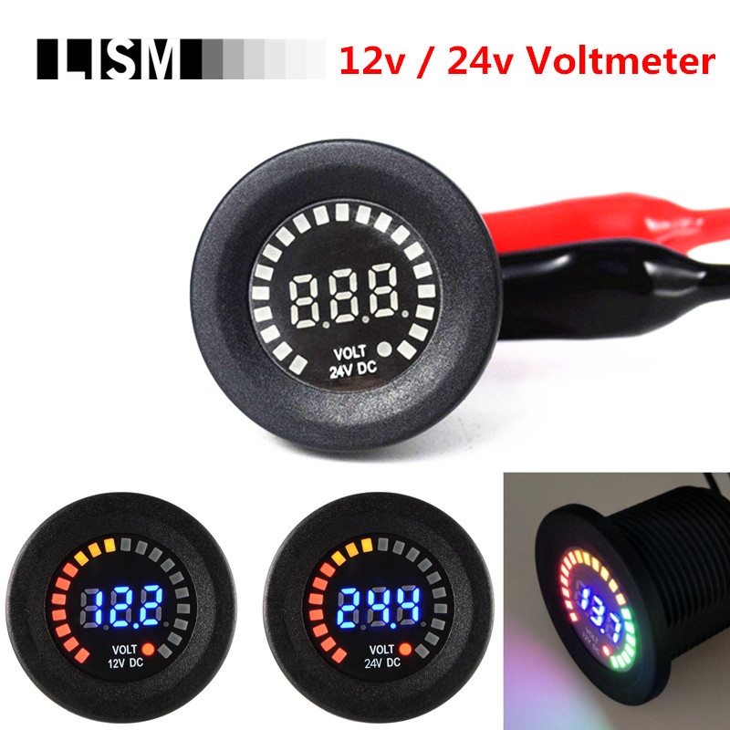 цена на 12v 24v DC Colorful LED Car Moto Voltage Volt Meter Waterproof Blue Digital Panel Display Boat Motorcycle Auto Accessories Parts