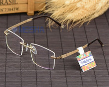 a69123f842 DOWER ME Business Men Rimless Alloy Brand Optical Eyeglasses Gold Silver  Myopia Reading Eyewear Spectacle Glasses
