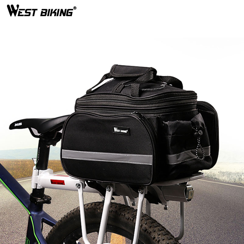 WEST BIKING Cycling Camel Bag 10-25L Volume Waterproof Riding Bicycle Rear Rack Storage Luggage Bags Reflective MTB Bike Bag
