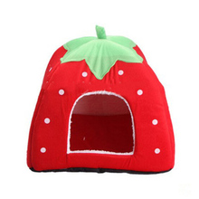 Cute Warm And Sweet Nest Foldable Pet House Dog Cat Strawberry Universal Bed Mats For Dogs Cats Kennel Pets Accessories