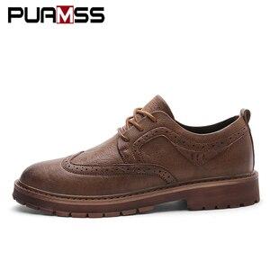 Image 2 - Herbst Neue Männer Martens Schuhe Brogue Casual Schuhe Männer Echtes Leder Schuhe Arbeit Business Casual Turnschuhe