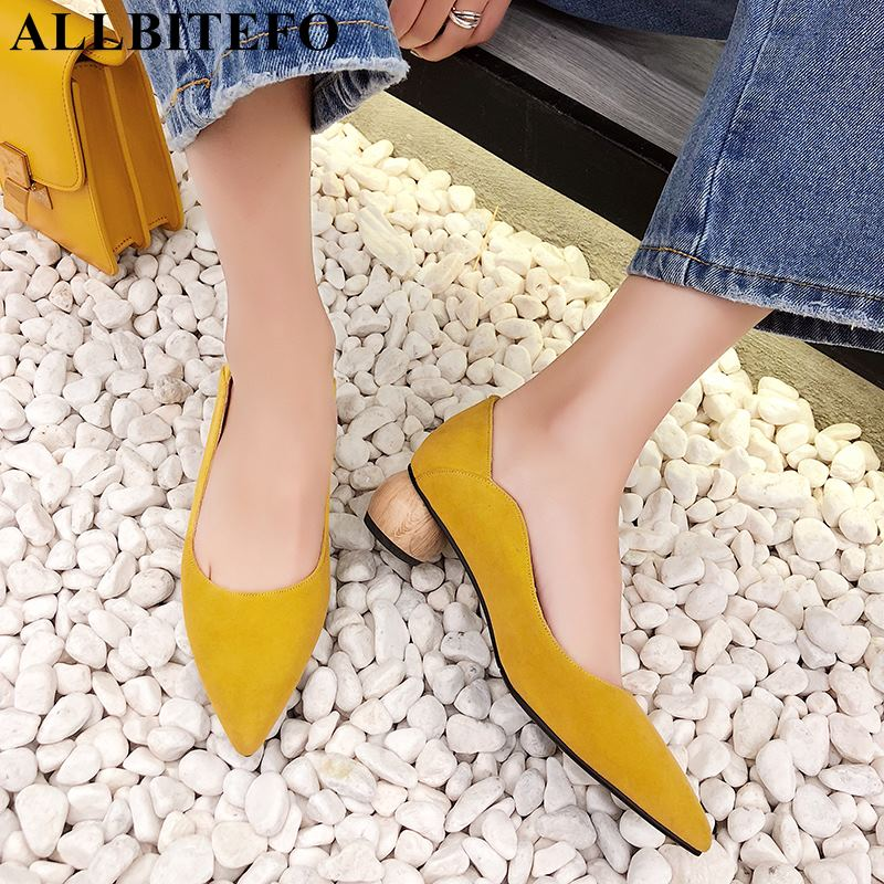 ALLBITEFO EURO size 34 43 genuine leather women heels office ladies party shoes fashion sexy women