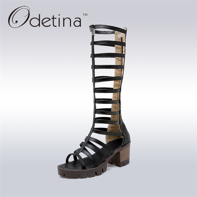 Odetina 2017 New Fashion Gladiator Sandals Women Knee High Heel Platform Chunky Sandals Hollow Out Summer Boots Big Size 34-43