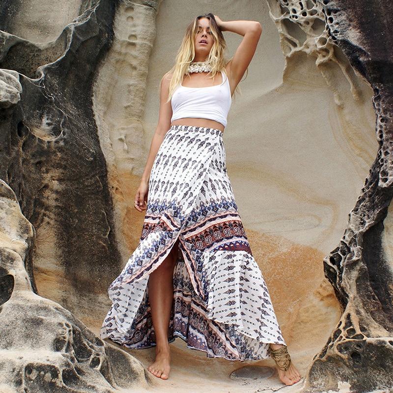 Ruffles Trumpet Mermaid Boho Skirts Women Summer Bohemian Skirt Print Ruffles Ankle Length Slit Hippie Boho Bohemian Beach Skirt