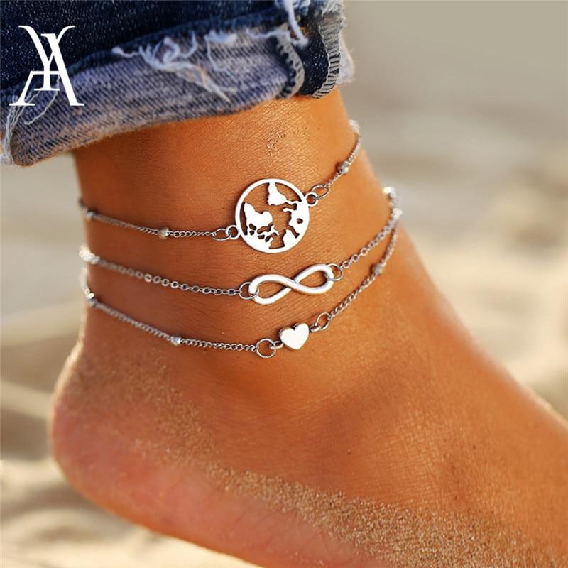Boho Ocean Beach Multiple Layers Ankle Bracelet Vintage Travel World Map Earth Infinity Heart Anklets for Women Leg Foot Jewelry