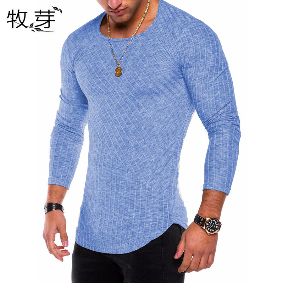 2018 Men long sleeve t shirt longline curve hem casual tshirt Slim Fit Rib groove funny t-shirt men streetwear