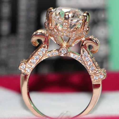 Etched 14 Karat Rose Gold 585 Jewelry 4CT Diamond Ring Female