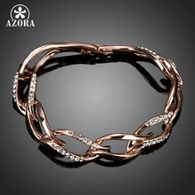 AZORA Latest Design Rose Gold Color Clear Stellux Austrian Crystal 8 Leaves Connected Bracelet TS0051(China)