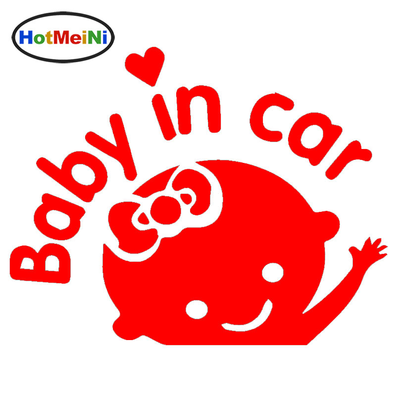 HotMeiNi Wholesale 50pcs/lot Cute Cartoon Kids Child Elf Baby In Car Lettering Art Funny Car Sticker Window Vinyl Decal 9 Colors