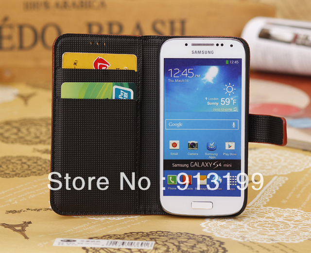 Free shipping Galaxy S4 Mini i9190 Flip cover Stand leather, New Wallet Leather Case for Samsung Galaxy S4 Mini i9192 i9195 LTE