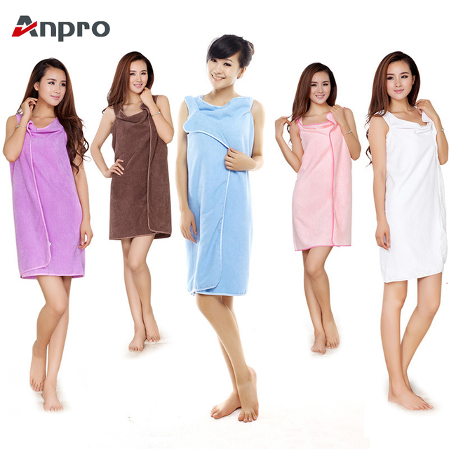 cda70e784d Anpro Microfiber Fabric Women Bath Towel Wearable Beach Towel Wrap Skirt  Spa Bathrobes Super Absorbent Bath