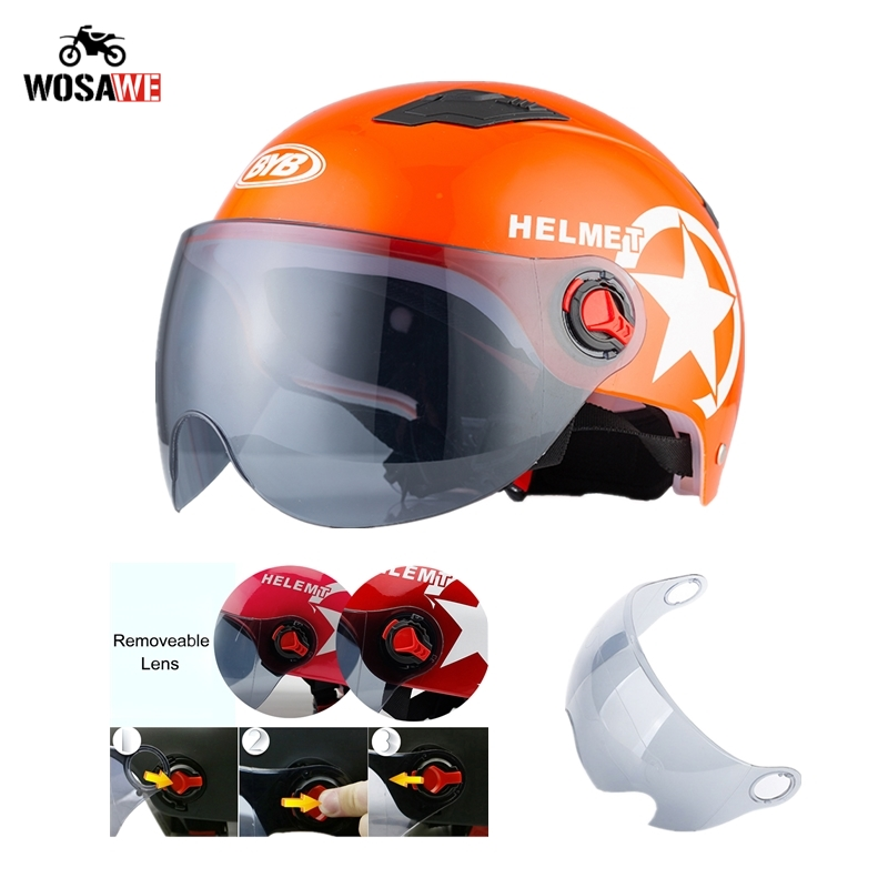 Image 3 - Motorcycle Helmet Open Face Half Baseball Cap Scooter Bike Anti UV Safety Hard Hat Motocross Helmet Multiple Color Head Protect-in Helmets from Automobiles & Motorcycles